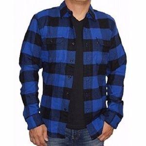 Levi's Blue & Black Plaid Flannel Button Up Shirt
